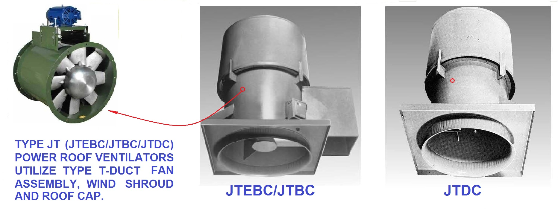 JTBC Belt Drive Up Blast Power Roof Ventilator